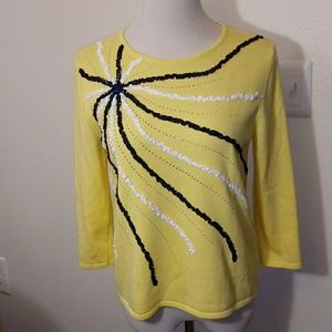 alfred dunner yellow light weight sweater size ps